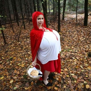 Halloween Photo Special with the worlds biggest boobs as Little Red Riding Hood